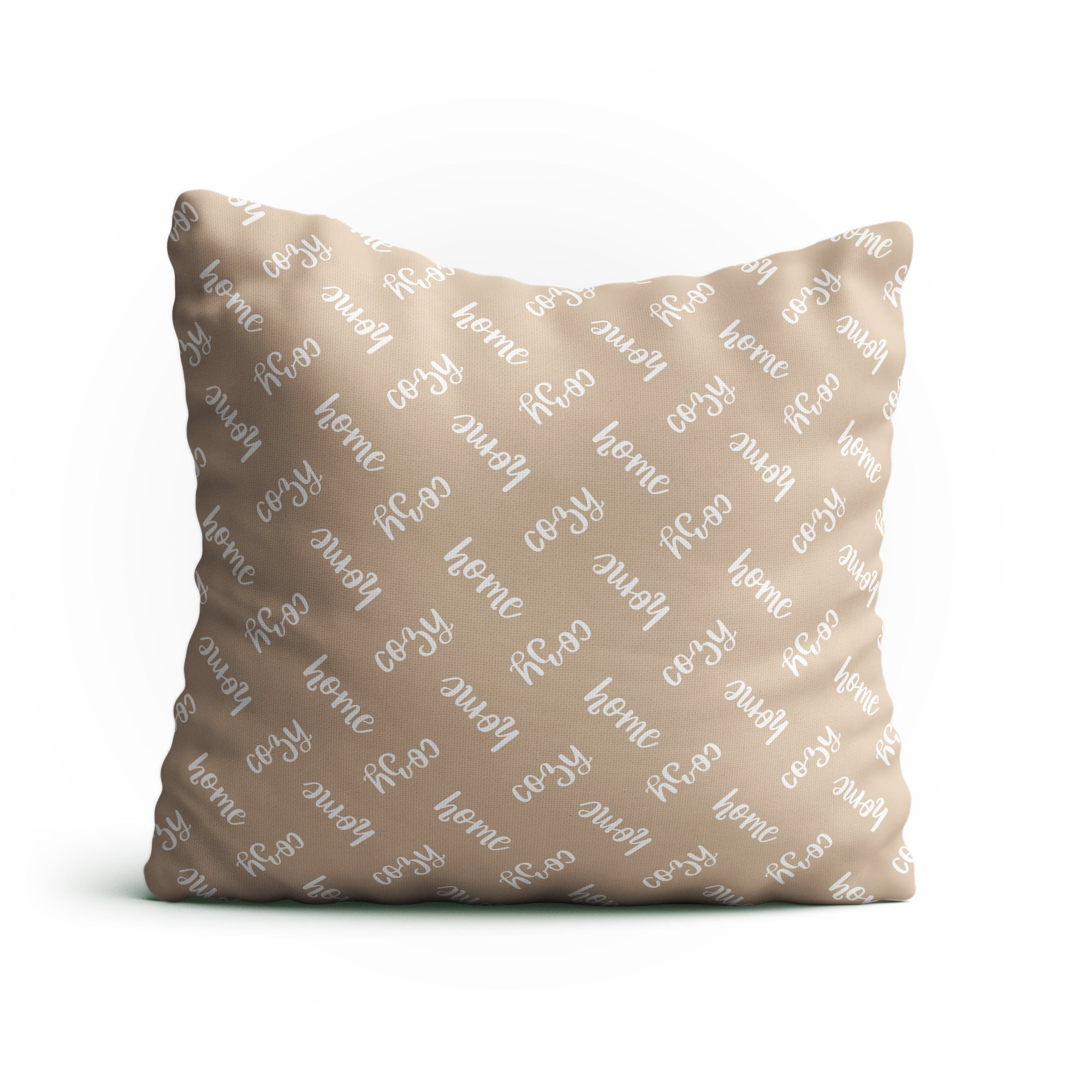 Throw Pillow - 'Cozy Home' Text Pattern Double-Sided 18x18 Square Pillow Cover with Insert for Couch, Sofa or Bed  ( Beige )