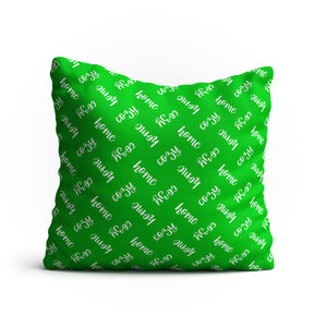 Throw Pillow - 'Cozy Home' Text Pattern Double-Sided 18x18 Square Pillow Cover with Insert for Couch, Sofa or Bed ( Green )