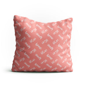 Throw Pillow - 'Cozy Home' Text Pattern Double-Sided 18x18 Square Pillow Cover with Insert for Couch, Sofa or Bed ( Peach )