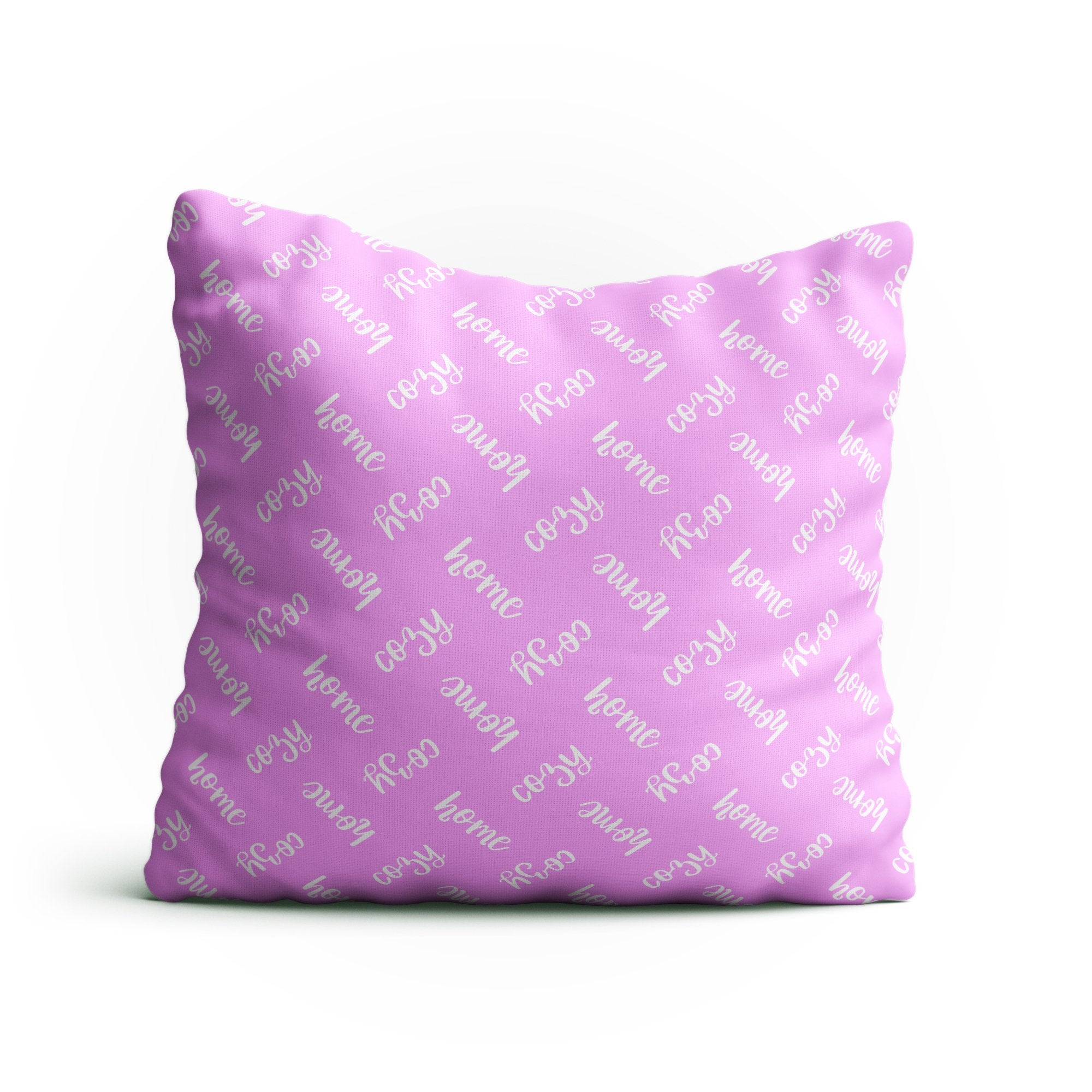 "Throw Pillow -""Cozy Home"" Text Pattern Double-Sided 18x18 Square Pillow Cover with Insert for Couch, Sofa or Bed ( Baby Pink )"