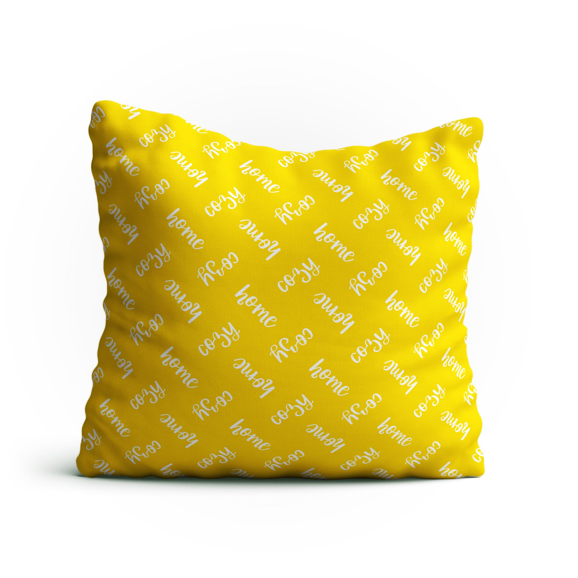 Throw Pillow - 'Cozy Home' Text Pattern Double-Sided 18x18 Square Pillow Cover with Insert for Couch, Sofa or Bed ( Yellow )