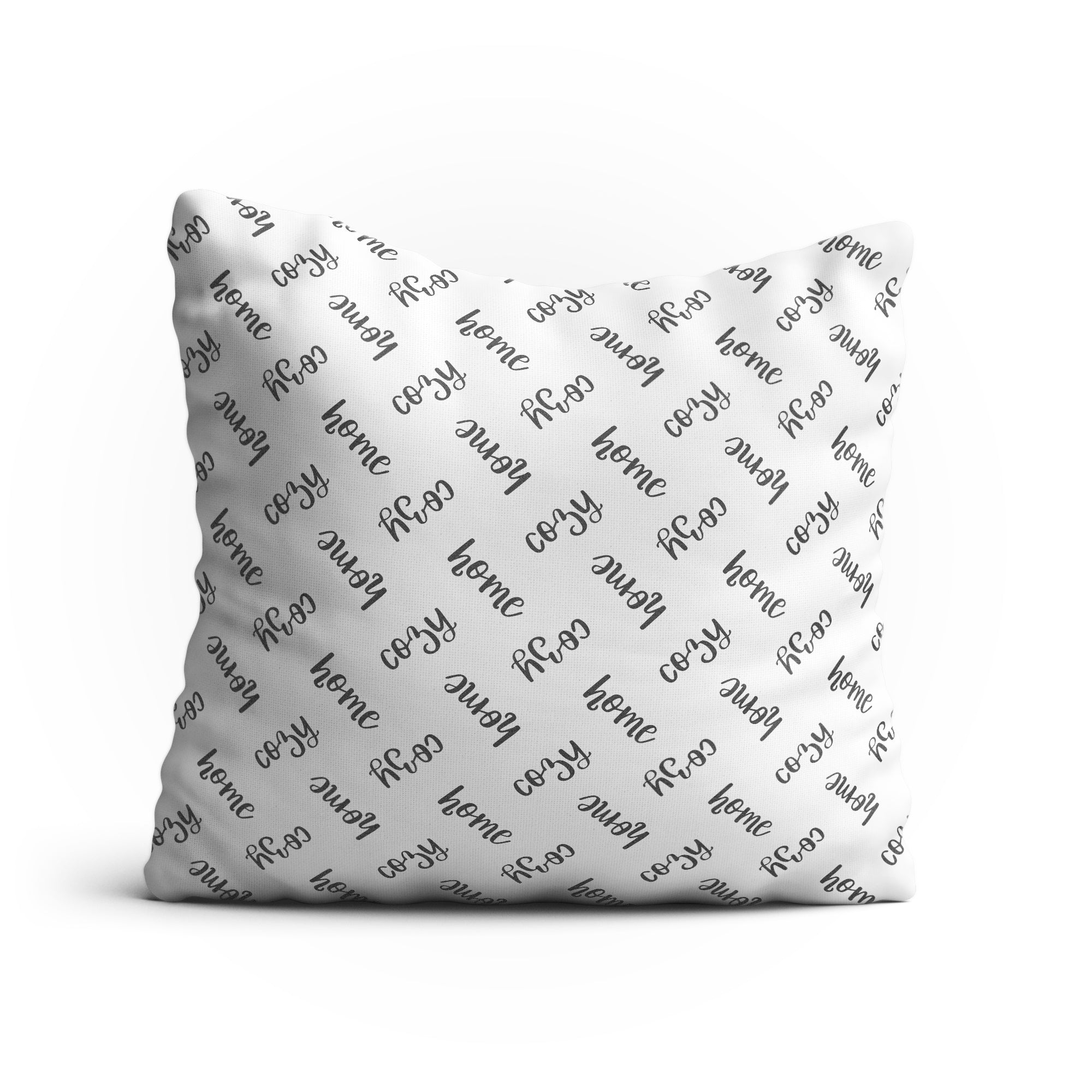 "Throw Pillow -""Cozy Home"" Text Pattern Double-Sided 18x18 Square Pillow Cover with Insert for Couch, Sofa or Bed (White)"