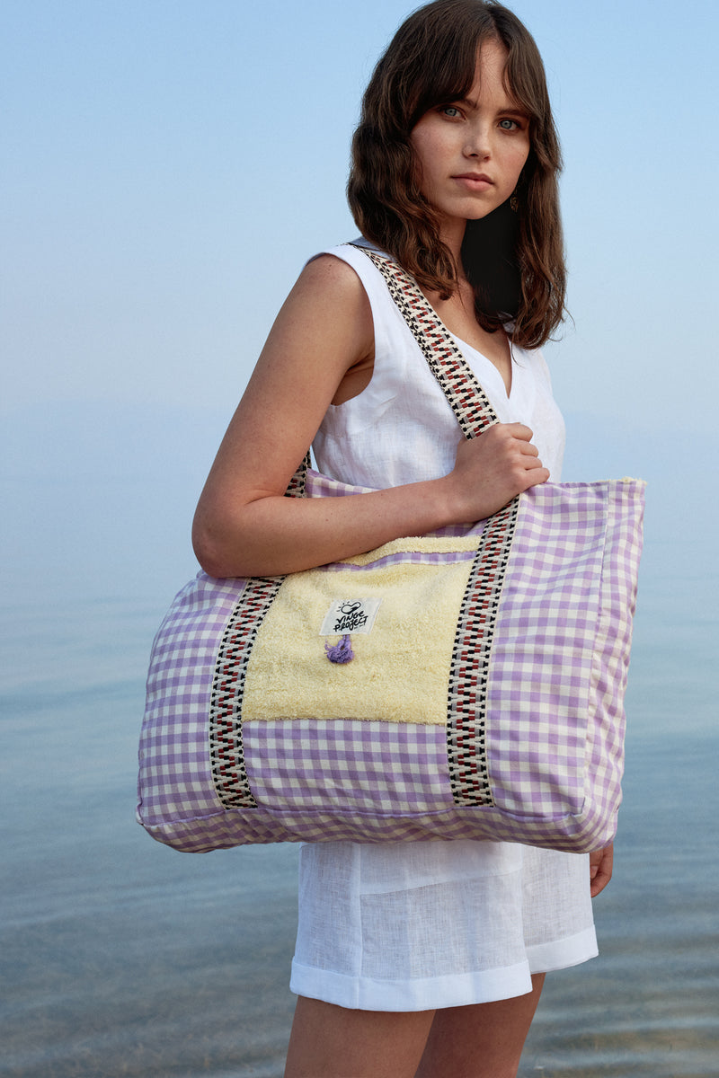 Cycladic in Lilac Beach Bag