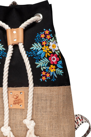 Frida embroided collective hermosa canvas backpack vingeproject