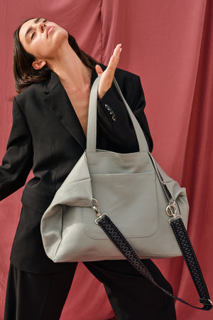"""Athena"" Tote Bag in French Grey"