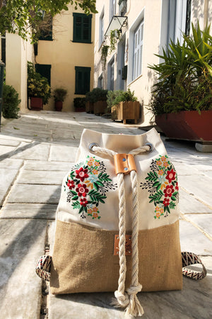 Frida in Beige - Embroidered Backpack
