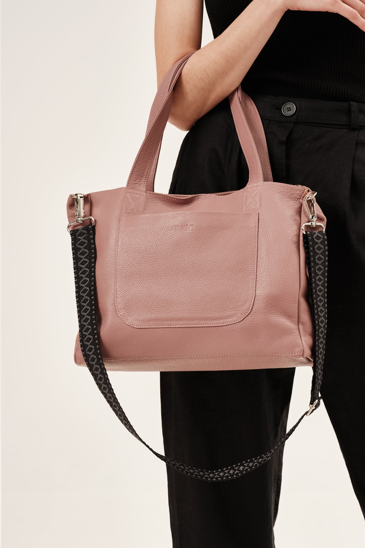 """Athena"" Medium Tote Bag in Dusty Rose"