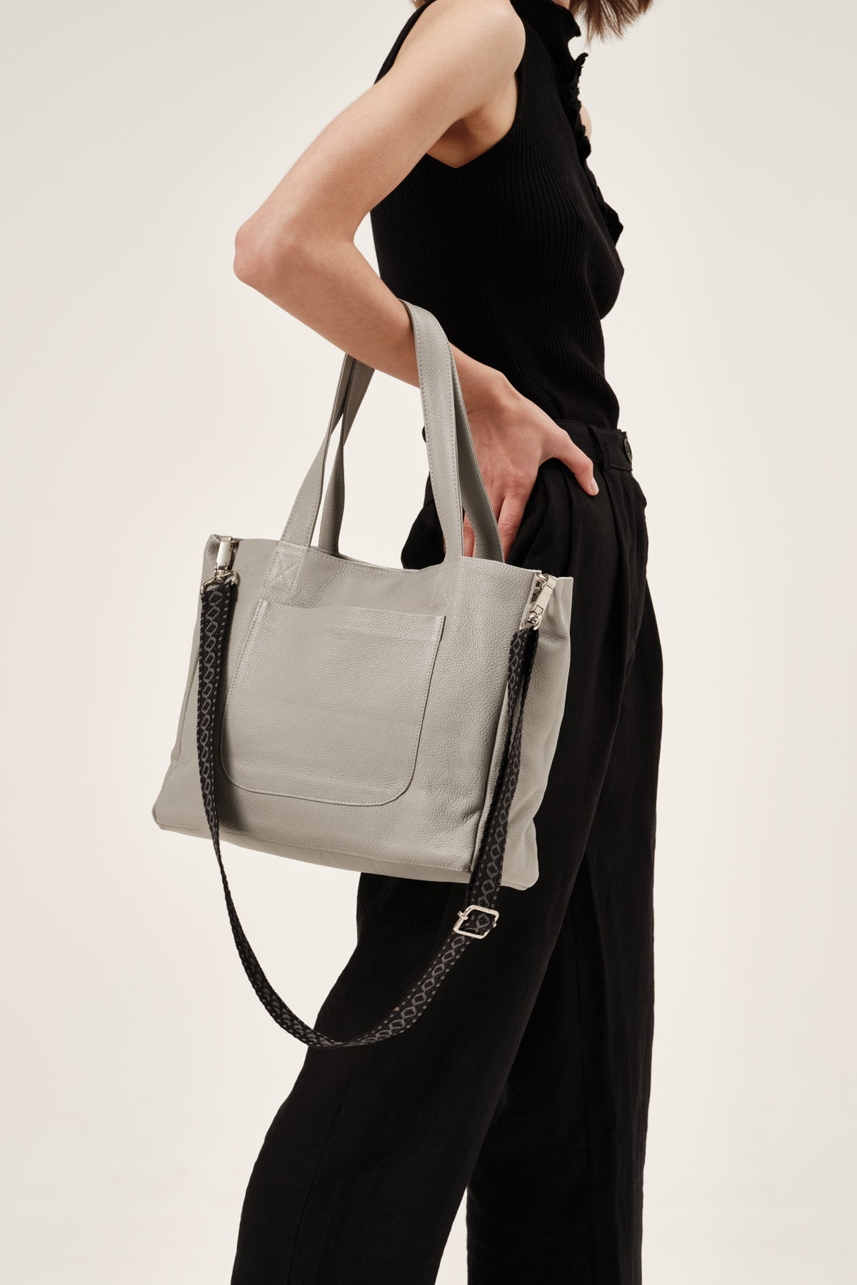 """Athena"" Medium Tote Bag in French Grey"