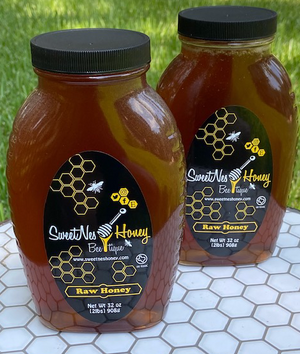 SweetNes Honey Raw Unfiltered Local Honey 32oz (2lb) GLASS JAR