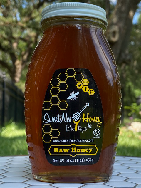 SweetNes Honey Raw Unfiltered Local Texas Honey 16oz (1lb) GLASS JAR
