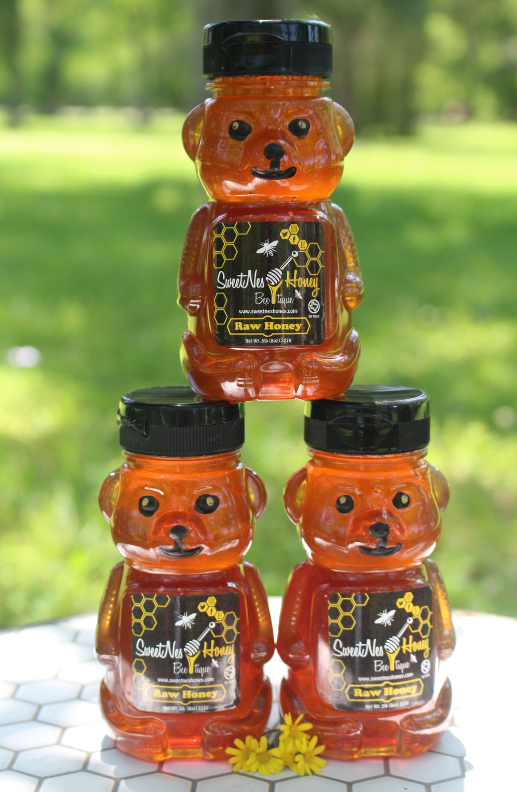 SweetNes Raw Unfiltered Local Texas Honey 8oz Squeezable Bear (3 Bear Deal)
