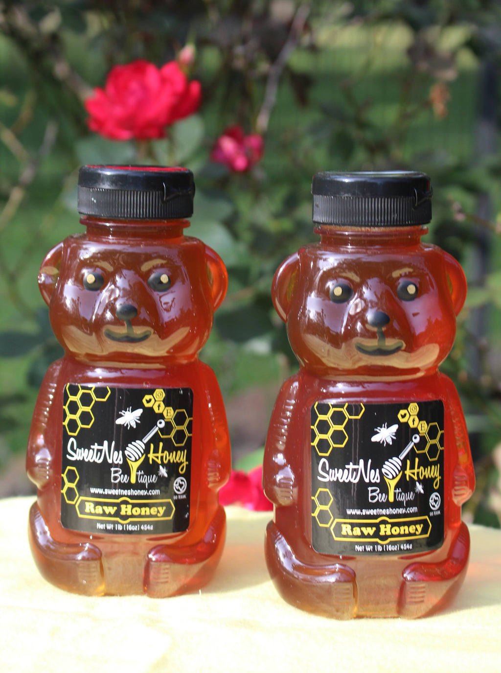 SweetNes Raw Unfiltered Local Honey 16oz Squeezable Bear (2 bottle deal)
