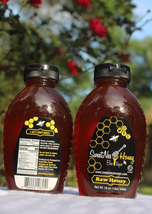16oz (1lb) SweetNes Raw Unfiltered Local Honey Squeezable Oval (2 Bottle Deal)