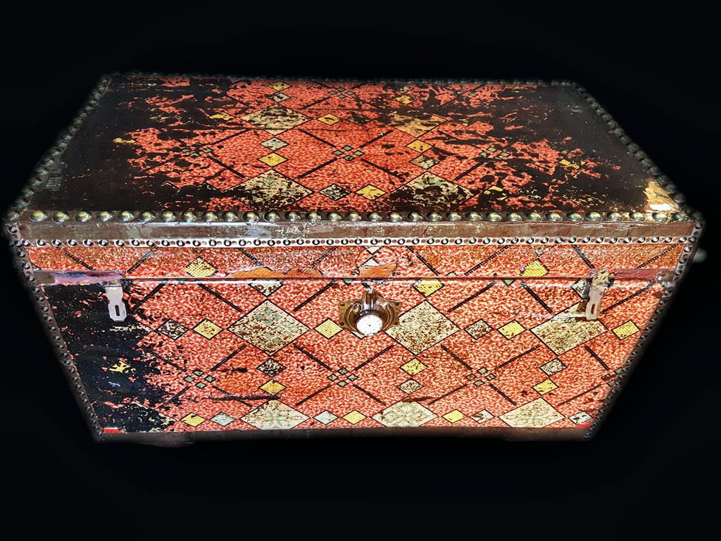 Vintage steampunk red travel box front view