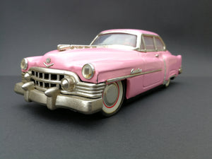 Vintage 1950 Cadillac Sedan MF330 Pink. Vintage toys. 45 degree view.