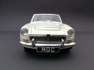Auto Art MGC model car. Scale:1/18. Color: Cream and silver. Front view.