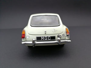 Auto Art MGC model car. Scale:1/18. Color: Cream and silver. Rear view.