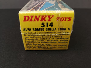 Alfa Romeo Giulia 1600 TI - Dinky Toys 514, in box, have never been opened, side view of box,