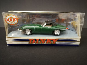 Matchbox, The Dinky Collection, 1968 Jaguar E type MK1.5 No DY-1 in box, dark green, front view.