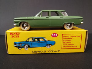 Dinky Toys 552 Chevrolet Corvair, green,on top of box, side view.