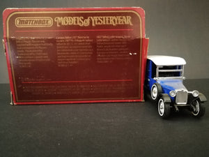 Matchbox Models of Yesteryear - Y-5 1927 Talbot, comes with box, color dark blue, rear view of box