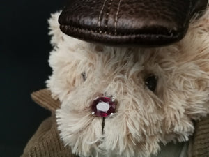 Stadl teddy bear shcalk range view of ruby nose and tanzanite eyes
