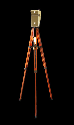 Tripod light with vintage camera rear view