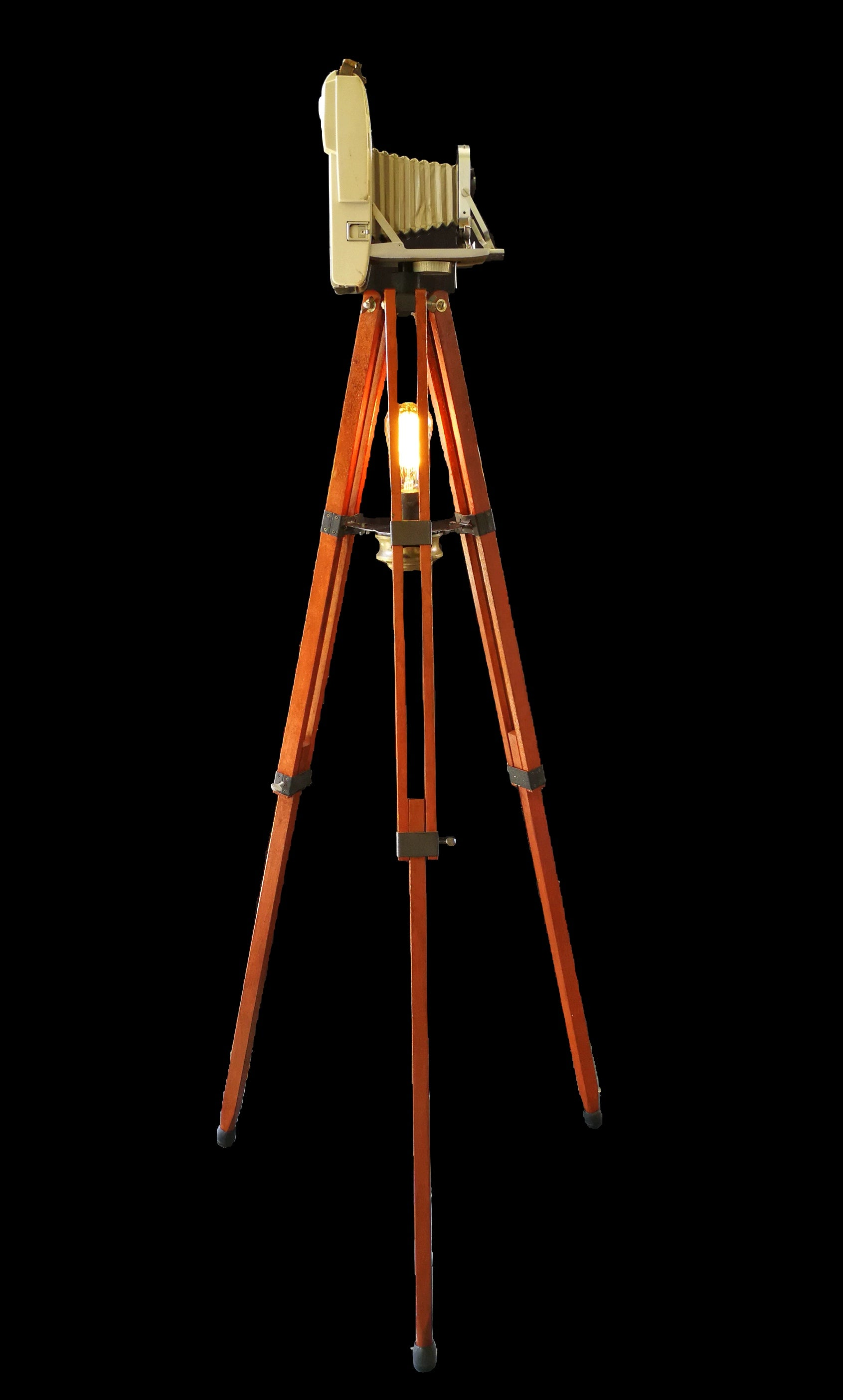 Tripod floor lamp with vintage camera side view