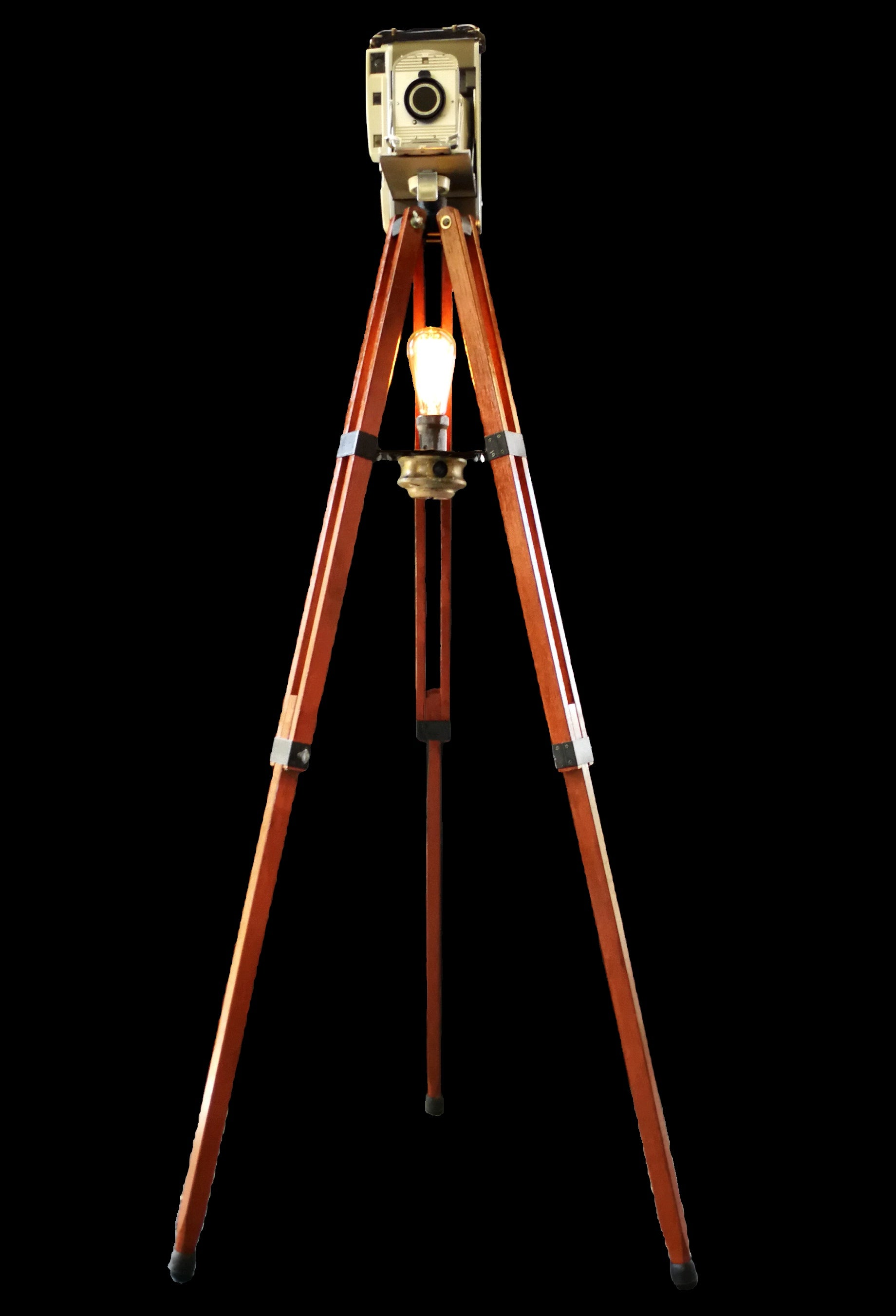 Tripod light with vintage camera front view