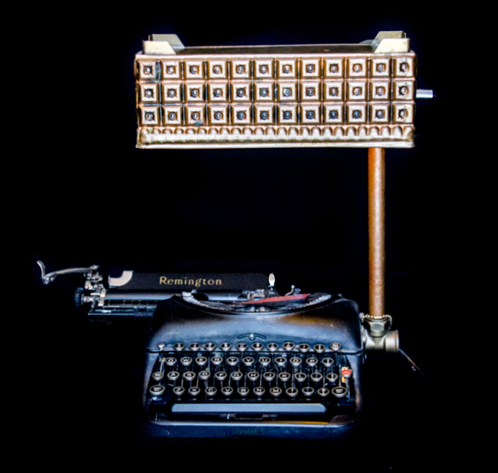 Antique 1930's Remington Model 5 typewriter lamp-classic look, ideal as bedside or table lamp-front view