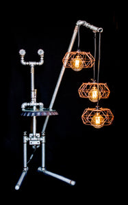Floor lamp made from galvanized pipes with 3 hanging bulbs, front view