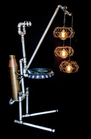 Floor lamp made from galvanized pipes with 3 hanging bulbs, side view