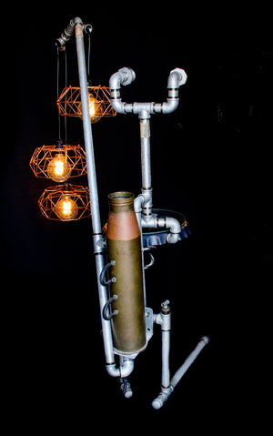 Floor lamp made from galvanized pipes with 3 hanging bulbs, rear view