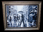 Black and white oil painting by Johan Stadler of man walking in rain on street