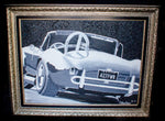 Black and white oil painting of classic car with frame