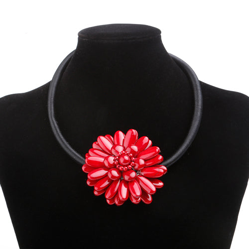 red big flower short necklace for women