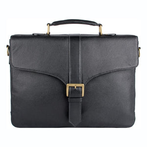 Bleaklow 01 Leather Briefcase (Black) - Classic Bags