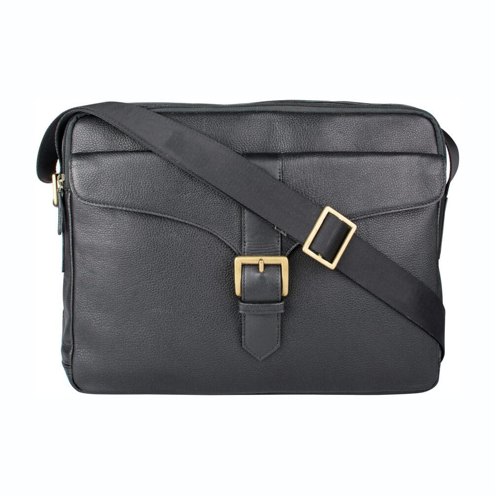 Bleaklow 02 Leather Messenger Bag (Black) - Classic Bags