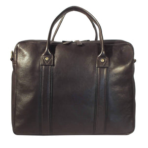 Corvette 01 Zip Top Leather Briefcase (Brown) - Classic Bags
