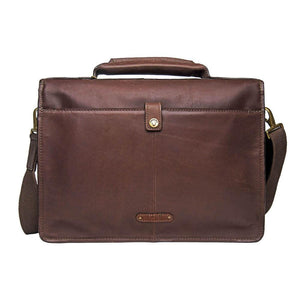 Iceman 01 Mens Leather Briefcase (Brown) - Classic Bags