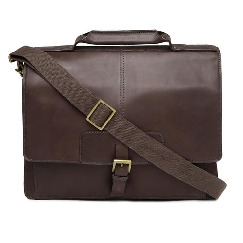 Iceman 02 Mens Leather Briefcase (Brown) - Classic Bags