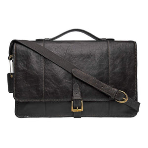 Maverick 01 Leather Briefcase (Black or Brown) - Classic Bags
