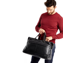 Milton Mens Leather Holdall (Black) - Classic Bags