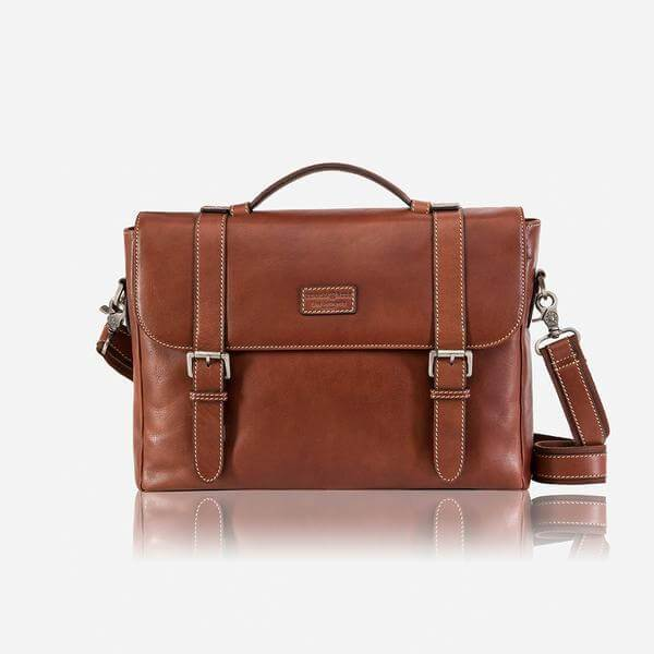 Montana 3631 Double Buckle Mens Leather Briefcase (Brown or Black) - Classic Bags