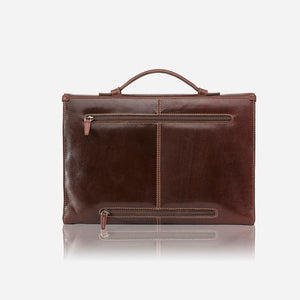 Oxford 3685 Slim Leather Laptop Briefcase (Brown or Black) - Classic Bags