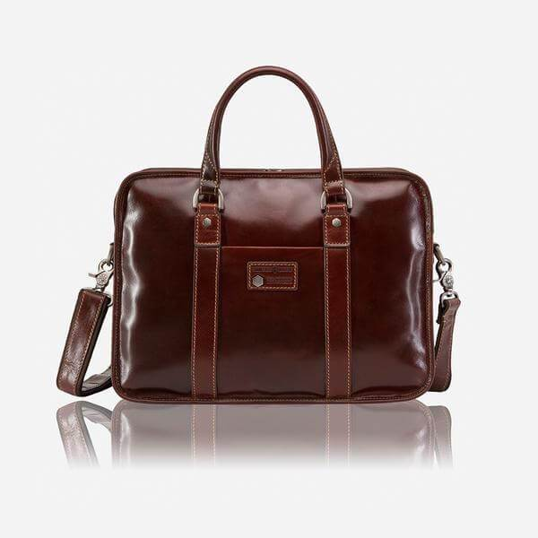 Oxford 3807 Leather Laptop Briefcase (Brown or Black) - Classic Bags