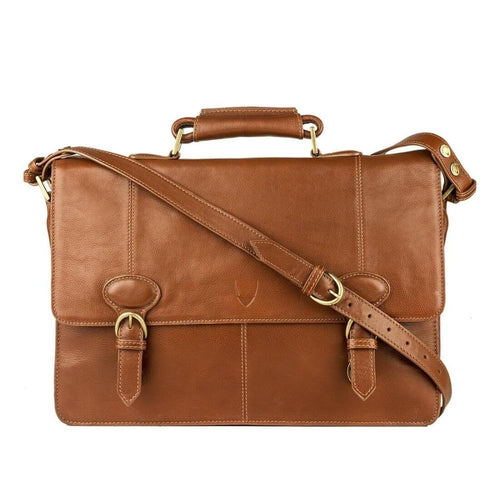 Parker 03 Leather Briefcase (Tan, Black or Brown) - Classic Bags