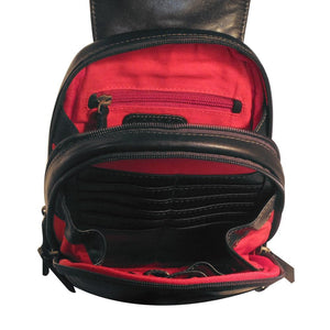 Poppy Ladies Leather Backpack (Black) - Classic Bags