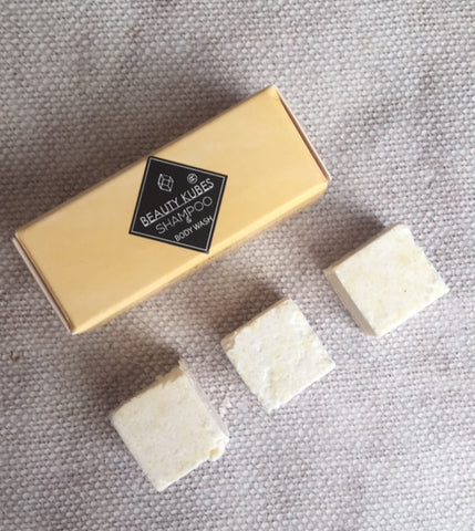 Sample Beauty Kubes unisex, zero waste plastic free shampoo & Body Wash cubes.