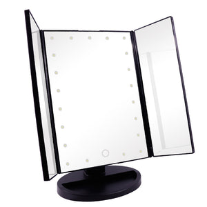 Tri-Fold Dimmable LED Makeup Mirror